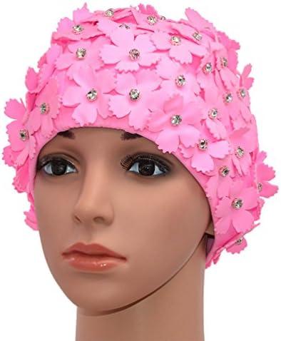Medifier Cuffia da nuoto in stile r/étro con strass e motivo floreale da donna