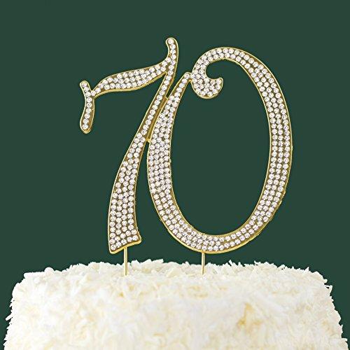 LOVENJOY 70th Birthday Anniversary Gifts - Rhinestone 70 Cake Topper Gold, 4.5 X 4.7