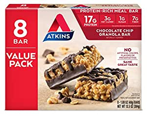 Atkins Protein-Rich Meal Bar, Chocolate Chip Granola, 8 Count