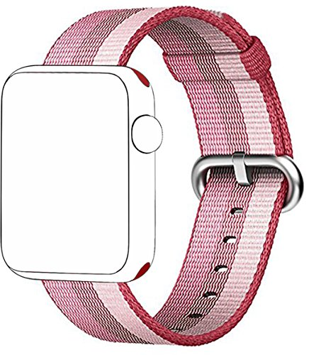 SELLERS360 New Nylon Watch Fine Woven Band Replacement Strap for Apple watch band Series 1 Series 2 iwatch (Berry 42mm)