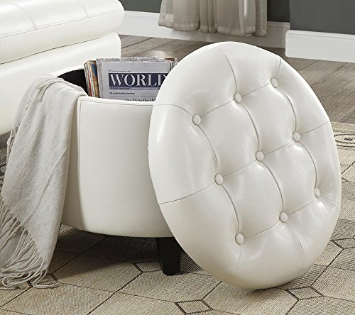 Convenience Concepts Designs4Comfort Storage Ottoman, White