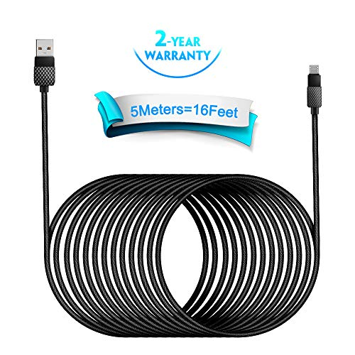 Micro USB Cable,5M/15Ft Extra Long USB Android Cable Nylon Braided PS4 Controller Charger Cable Fast Charging Cord Sync…