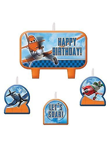 Amscan DisneyPlanes 2 Birthday Party Molded Character Candle Decoration Set (4 Pack), 3