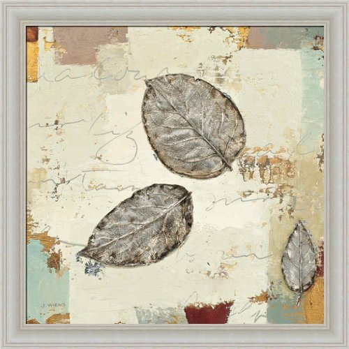 Silver Leaves Wall Art (Silver Leaves IV by James Wiens Contemporary Nature 14x14 Framed Art Print Picture Wall Decor)