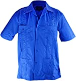 Cathedral Men's Short Sleeve Cuban Guayabera Shirt (3X-Large, Royal Blue)