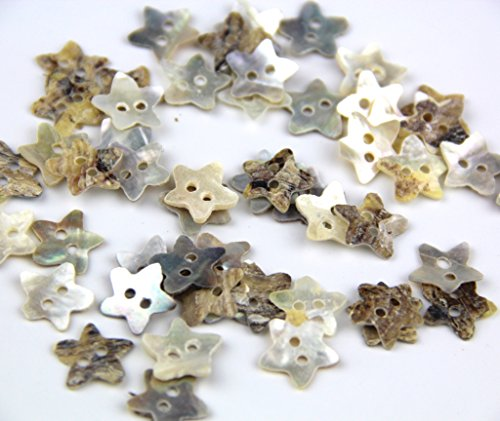 Pack of Star Shaped 2 Hole Scrapbooking Sewing Crafting Mother of Natural Shell Buttons Approx 50pcs -