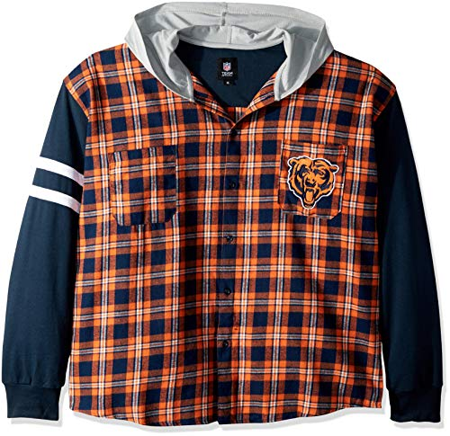 Chicago Bears Lightweight Flannel Hooded Jacket - Mens Extra Large
