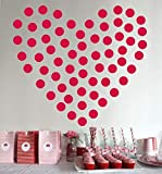 Red Polka Dots Wall Decal Dots Polka +'2 Inch 200pcs'+'Easy to Peel Easy to Stick' +'Safe on Walls & Paint' + Metallic Vinyl Polka Dot Decor by BUGYBAGY (Matte Red, 2 Inch)