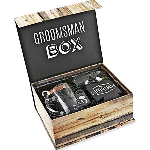 (Kate Aspen Groomsman Kit Grooms Gift Set, Black, White and Brown, Perfect Wedding Favor)