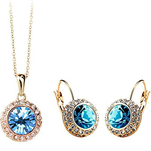 (Isijie Jewelry Princess Same Wedding Style Golden & Aquamarine Rhinestone Drop Earrings & Necklace Set for Women & Girls)