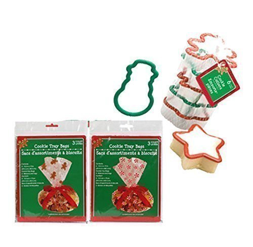 Cellophane Christmas Inspired Cookie Tray Gift Bags, 3-ct. Packs (Set of 2) Plus Bonus Christmas Shapes Plastic Cookie Cutters! by Christmas House (Diaper Cookie)