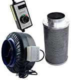 3 inch ac fan - VenTech VT IF8+CF8-B Inline Exhaust Blower Fan with Carbon Filter and Variable Speed Controller, 720 CFM, 8