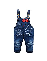 Kidscool Baby Cotton Denim Cartoon Mouse Star Decoration Soft Overalls
