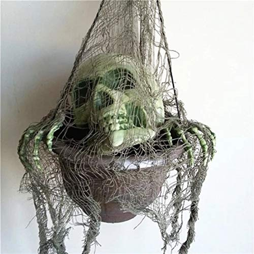Abrante Halloween Party Decoration Props-Flower Pot Shantou Hanging Ornament,Skull and Skeleton for Home Indoor and Outdoor Deco -