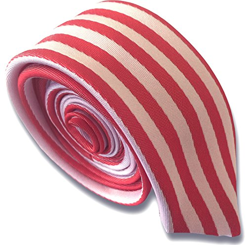 - Men's Skinny Tie - Red & White Vertical Stripe