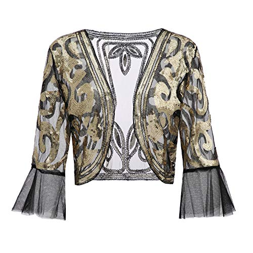 Beaded Cropped Cardigan - Metme Sequin Jacket Open Front Glitter Cropped Bolero Shrug 2/3 length Bell Sleeves Lace Cardigan