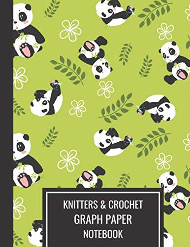 Bamboo Knitting Patterns - Knitters & Crochet Graph Paper Notebook: Knitting Design Notebook 4.5 Ratio, Large Blank Journal Baby Panda With Bamboo For Pride Knitters