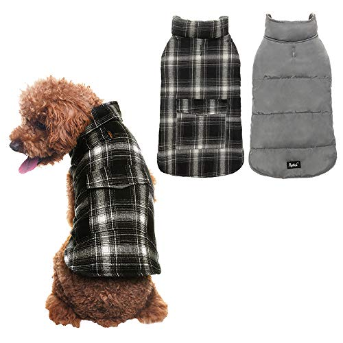 PUPTECK Reversible Dog Winter Clothes Waterproof Cold Weather Coat Black & White Small ()