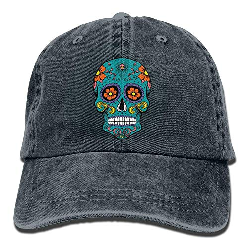 QHZM Sugar Skull Vintage Jeans Baseball Cap Outdoor Sports Hat for Men and Women (Navy)]()