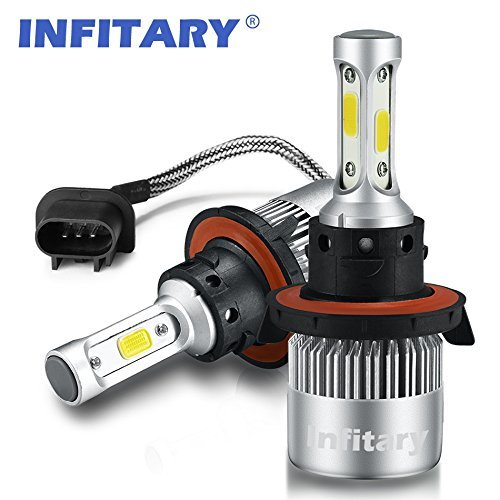 Low Beam H13 (Infitary LED Headlight Bulbs H13 Conversion Kits High/Low Beam Auto Headlamp Dual Beam Car Headlight 72W 6500K 8000LM Extremely Super Bright COB Chips- 1 Pair- 3 Year Warranty(H13/9008 HI/LO))