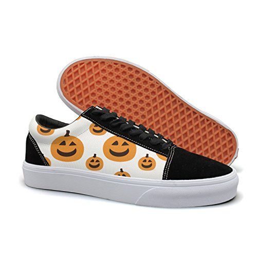 Armsttm Women Skate Shoes Halloween Pumpkin Face Pattern Classic Suede Sneaker Skateboard Shoes ()