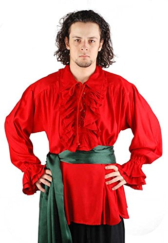 Medieval Poet's Pirate Shirt Costume [Red] -