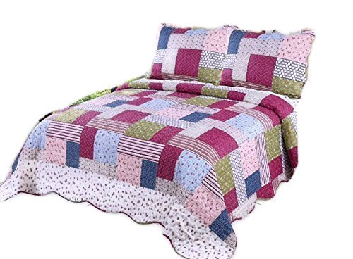 Contemporary Size Quilt Queen - Microfiber Quilt set,prewashed, preshrunk. Hypoallerginic, Pattern Stitched with Real Threads, machine quilting , Ultra soft . F/Q bed-cover 86