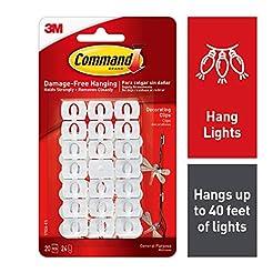 Command Light Clips, White, White, Decor...
