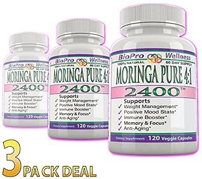 360ct Moringa Oleifera 4:1 Extract Focus Brain Mood Weight Management Memory Max Strength Pure 2400mg Whole Super Food Plus Immune Boost Anti Aging Diet Supplement Senior Organic Tree Leaf Powder Pill