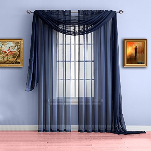 Warm Home Designs Extra Long Navy Blue Sheer Window Scarf. Valance Scarves are 56 X 216 Inches in Size. Great As Window Treatments, Bed Canopy Or for Decorative Project. Color: Navy 216