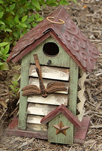 Dragonfly House Bird (Your Heart's Delight Dragonfly Birdhouse with Tin Shutters, 5-1/4 by 8-3/4 by 3-1/2-Inch)