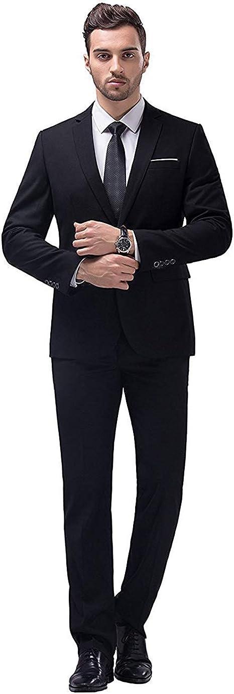 Amazon.com: YIMANIE Traje de hombre Slim Fit One Button 2 ...