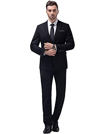 38fc43aae3f YIMANIE Men's Suit Slim Fit One Button 2 Piece Suit Tuxedo Business Wedding  Party Casual Black