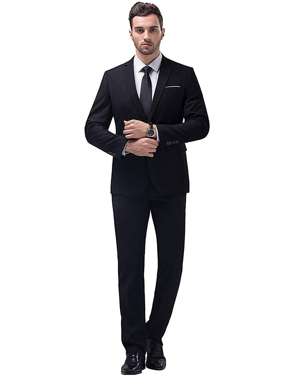 YIMANIE Men's Suit Slim Fit One Button 2 Piece Suit Tuxedo Business Wedding Party Casual