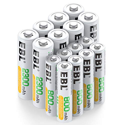 EBL 16 Sets AA AAA Batteries Combo with 8PCS AA 2300mAh & 8-Pack AAA 800mAh Rechargeable Batteries