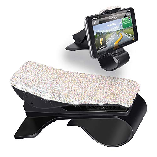 Henstar Car Phone Holder Bling Sparkly Crystal Diamond Dashboard Cell Phone Holder HUD Car Mount Bracket Car Cradle Compatible with iPhoneX/8/8 Plus, Samsung and More Smartphones - Crystal Jeep Cherokee