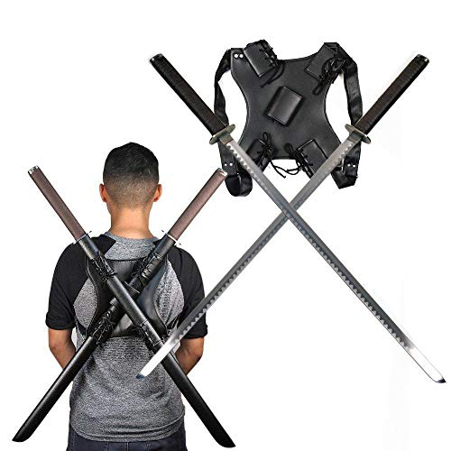 (Ace Martial Arts Supply Leonardo Dual Ninja Swords with Back Carrying Scabbard)