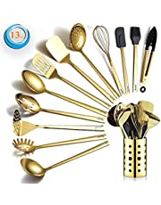 Gouden kookgerei, Berglander, 13 stuks roestvrijstalen keukengerei, set met titanium beplating keukengereedschap set met gebruiksvoorwerp, vaatwasmachinebestendig, eenvoudig te reinigen