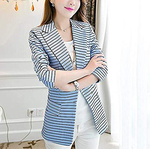 Lunga Camicia Giacche Stripe Slim Da Bavero Fit Grazioso Retro Autunno Donna Giacca Con Blazer Blau Tasche Elegante Moda Manica Cappotto Stlie Tailleur Primaverile wIOEv0Aq