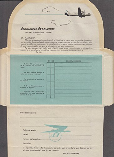 Aerolineas Argentinas passenger commentary airline mailer in Spanish 1950s