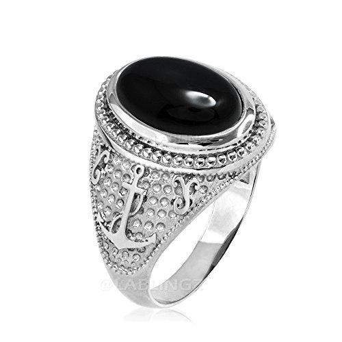 - 14K White Gold Marine Anchor Black Onyx Gemstone Ring (10.5)
