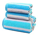 Doufine Fast Drying Striped Easy Care No Fading Cotton Super Soft Ideal for Everyday use Bath Sheet Blue 70140cm