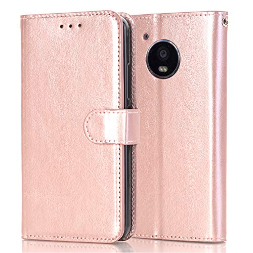 Moto E4 Wallet Case,Moto E4 Case, Moto G5 Case,Alkax Luxury PU Leather Wallet with Credit Card Slots & Stand Wrist Strap Flip Protective Cover For Motorola Moto E (4th Generation) and Stylus-Rose Gold