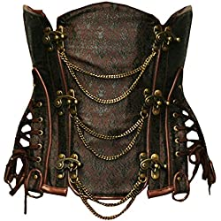 Bslingerie Gothic Punk Heavy Duty Brown Faux Leather Steel Boned Underbust Corset (XL, Brown)