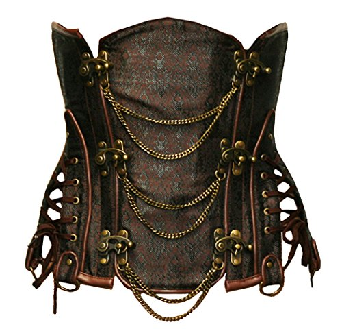Bslingerie Gothic Punk Heavy Duty Brown Faux Leather Steel Boned Underbust Corset (XXL, Brown)