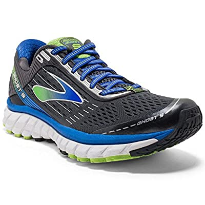 Brooks Men's Ghost 9 Anthracite/Electric Brooks Blue/Lime Punch Sneaker - Wide (14 EE - Wide)