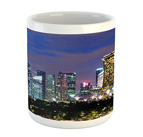 Ambesonne Travel Mug, Singapore Cityscape at The Night Modern Architecture Urban Life Asian East Landmark, Printed Ceramic Coffee Mug Water Tea Drinks Cup, Multicolor from Ambesonne