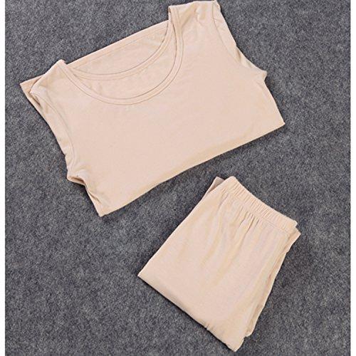 Pantalone Intimo Liang Elasticizzato Rou da Canottiera Sottile Beige Donna Girocollo Modal amp; un Set EwSFqrwv