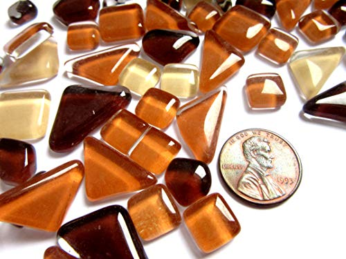 50 Light/Dar Brown Mosaic Tiles, Glass Triangle Tiles, Mosaic Supplies from Shining Eye Arts
