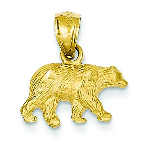 14K Yellow Gold Diamond-Cut Bear Charm Pendant